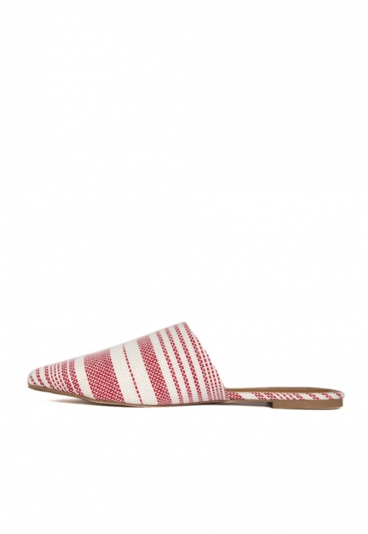 Stripe Lounge Mule Flats in Red alternate img #2