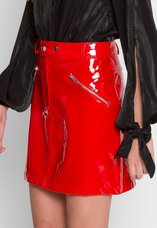 Pleather Zipper Detail Skirt alternate img #3