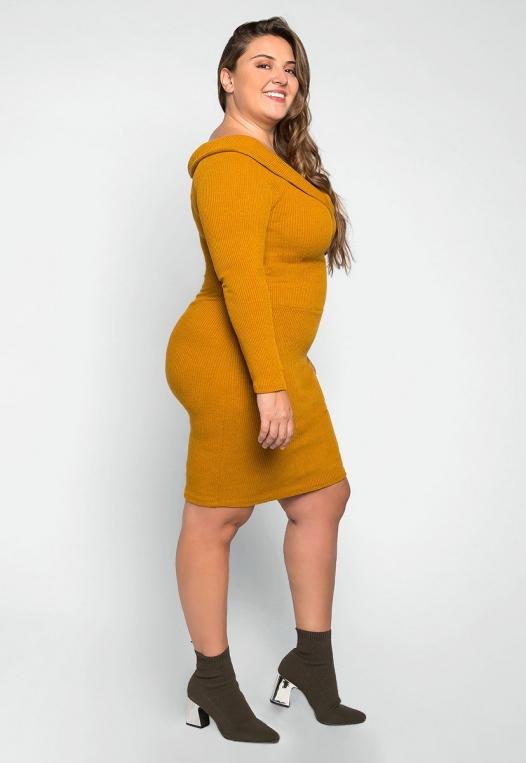 Plus Size Oblivion Shawl Lapel Knit Dress in Mustard alternate img #3