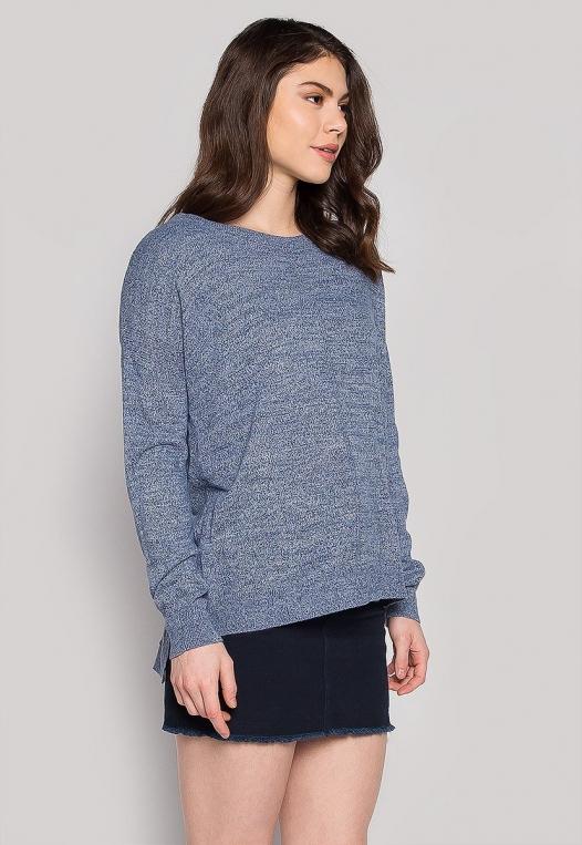 Marily Step Hem Oversized Sweater in Blue alternate img #3