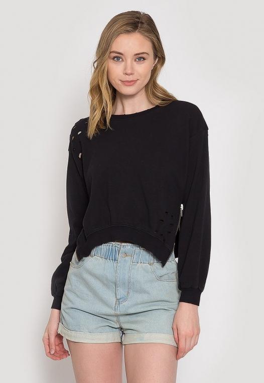 Laid Back Distressed Sweatshirt alternate img #3