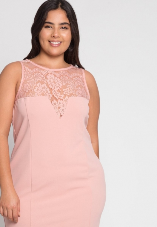 Plus Size Soiree Fitted Dress in Blush alternate img #5