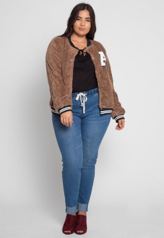 Plus Size Letterman Teddy Varsity Jacket in Brown alternate img #4