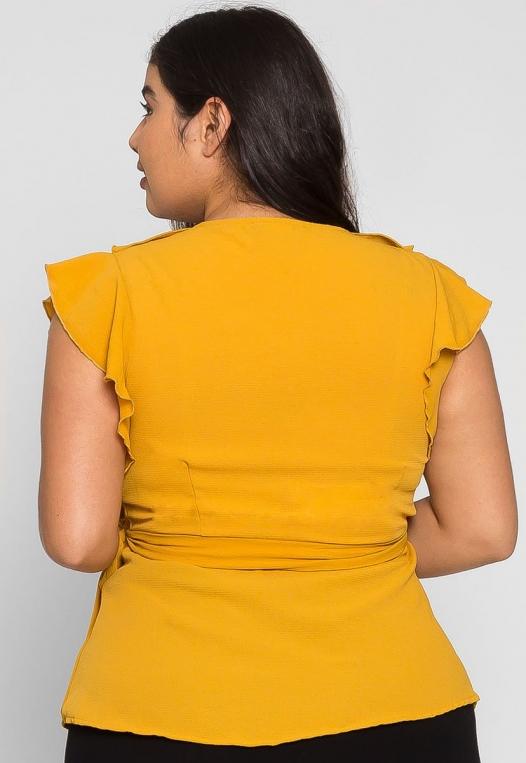 Plus Size Remember Me Wrap Blouse in Mustard alternate img #2