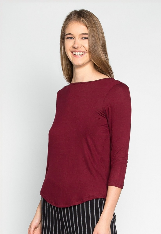 Popsicle Open Back Knit Top in Burgundy alternate img #3