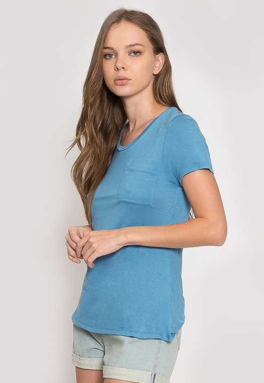 Oregon Oversized V-Neck Pocket Tee in Blue alternate img #3