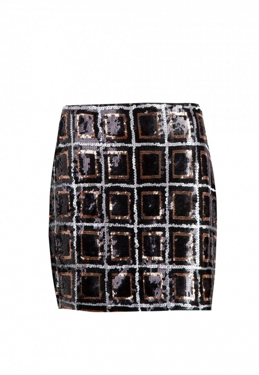 Sequin mini skirt in black alternate img #7