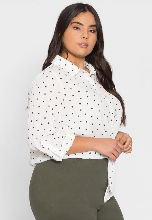 Plus Size Hearts Button Up Shirt in White alternate img #3
