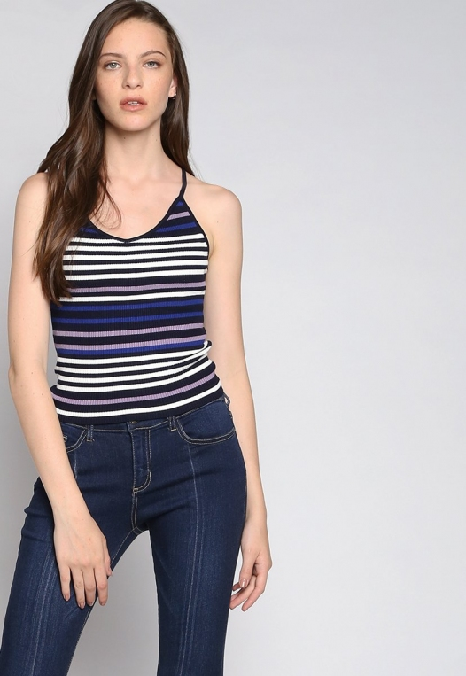 Stripes on Stripes Knit Top in Purple alternate img #5