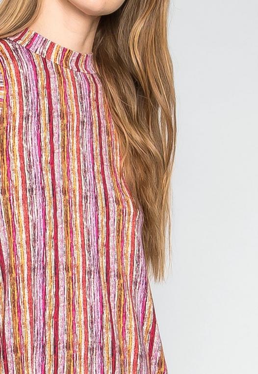 Colorful Party Striped Mock Neck Dress alternate img #6
