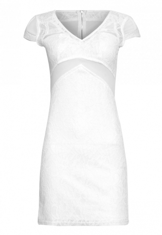 Roe Lace Bodycon Dress in White alternate img #7