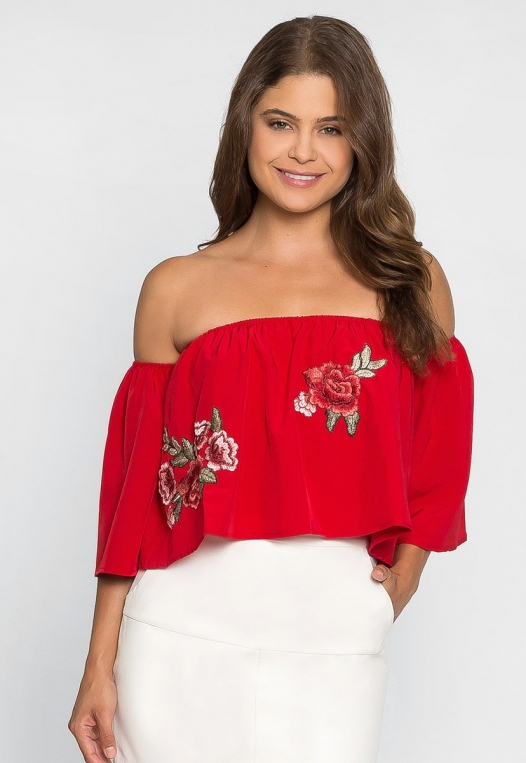 Free Soul Embroidered Top in Red alternate img #3