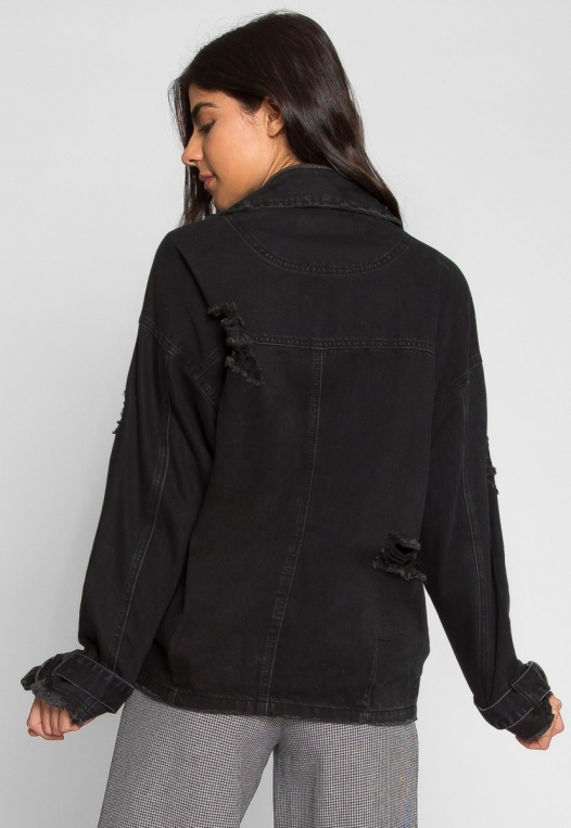 Black Distressed Denim Jacket alternate img #4