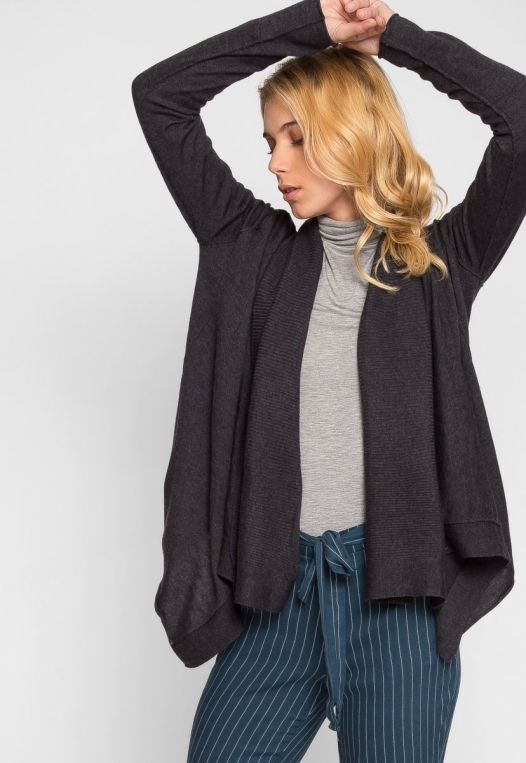 Waterfall Open Front Cardigan in Charcoal alternate img #5