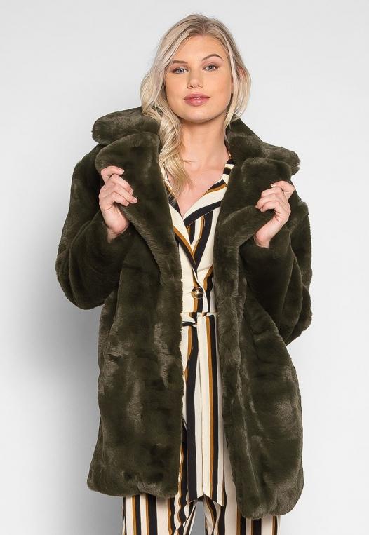 Loving Winter Faux Fur Coat in Green alternate img #1