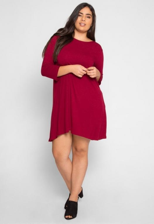 Plus Size Catwalk Tunic Knit Dress in Burgundy alternate img #5