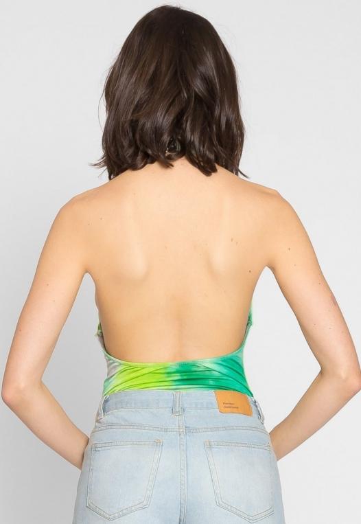 Crazy Tie Dye Halter Bodysuit alternate img #2