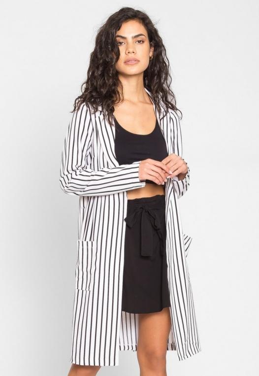 Over You Stripe Longline Blazer in White alternate img #3