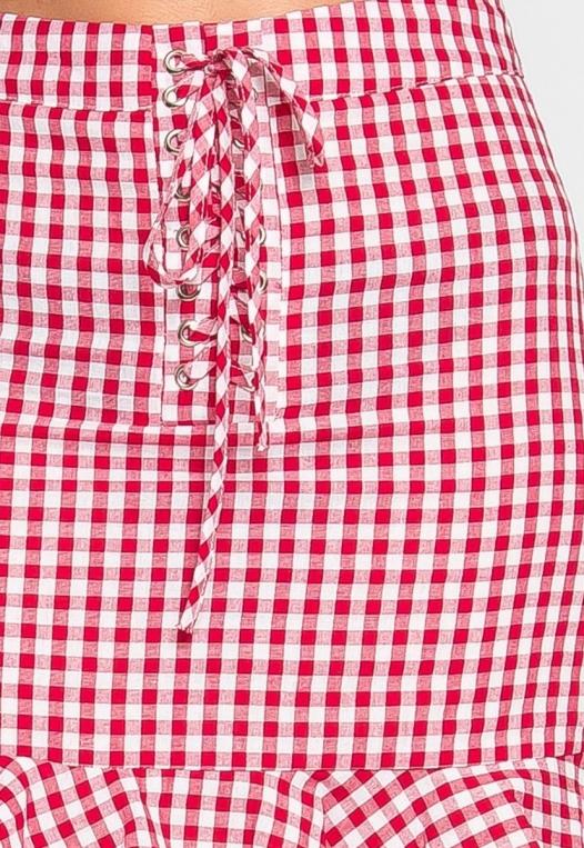 Delphine Plaid Skirt in Red alternate img #6
