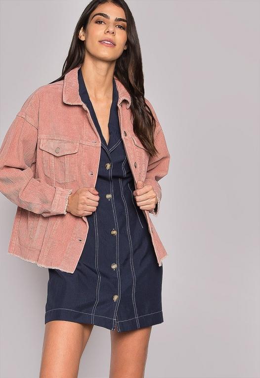 Emily Raw Hem Corduroy Jacket In Pink alternate img #5
