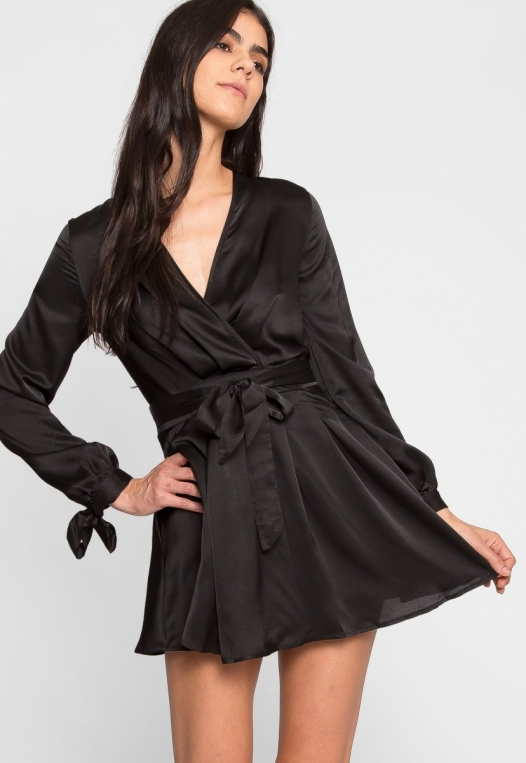 Clean Slate Satin Fit and Flare Dress alternate img #5