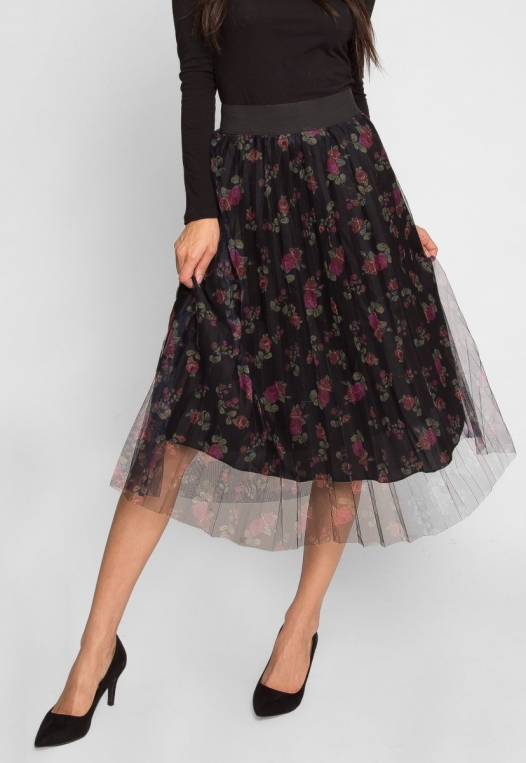 Party Pleated Mesh Floral Skirt alternate img #4