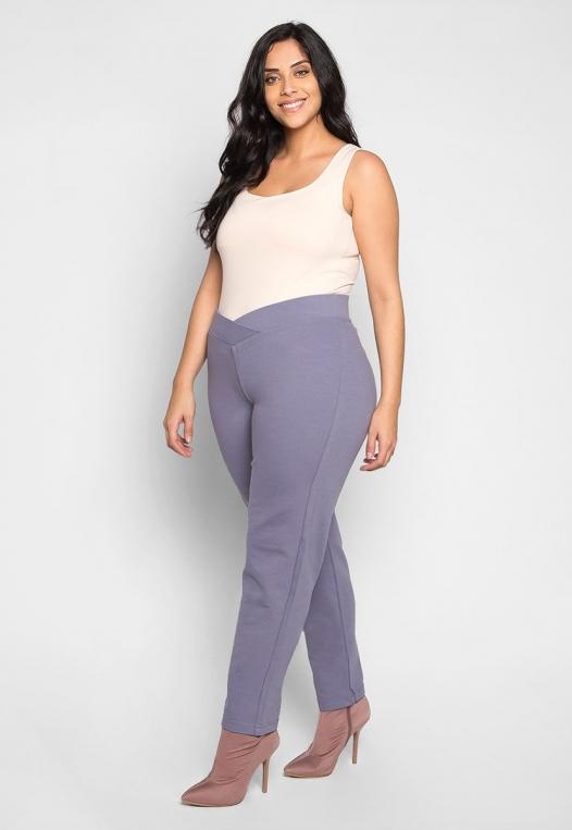 Plus Size Macaroon V-Waist Leggings in Gray alternate img #4