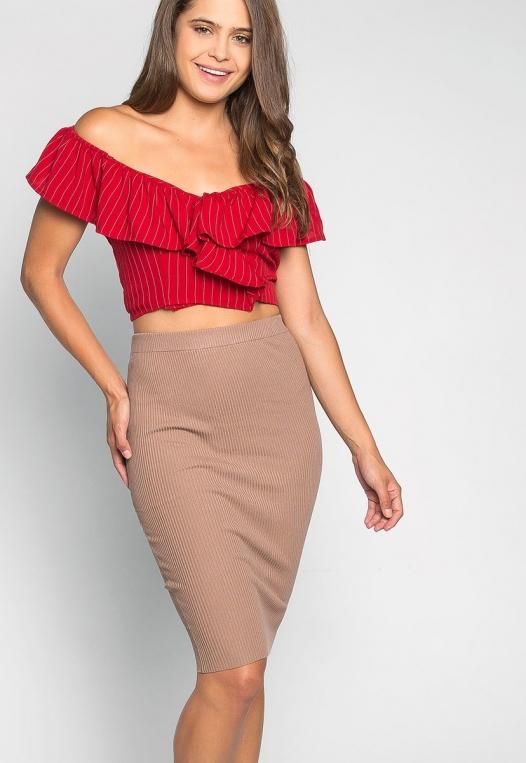 I'll Find You Off Shoulder Stripe Blouse in Red alternate img #5