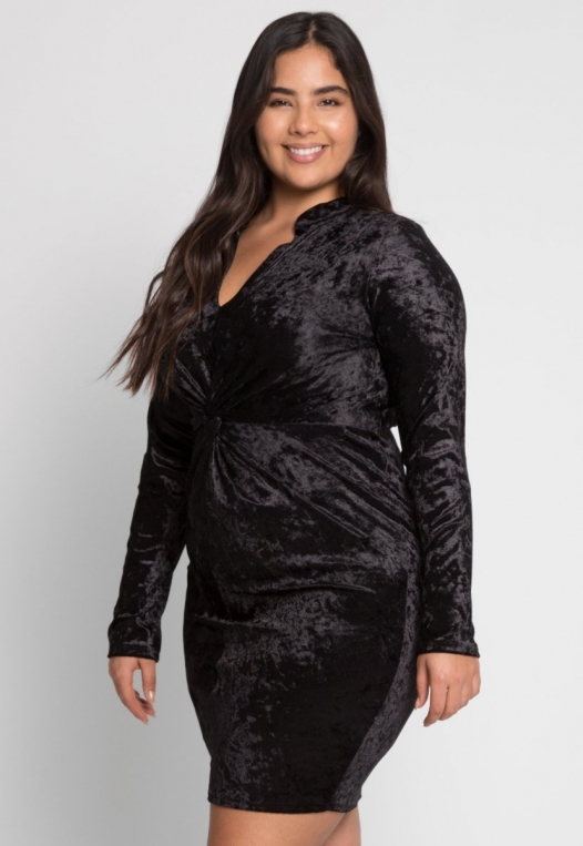 Plus Size Wild Velvet Party Dress in Black alternate img #1