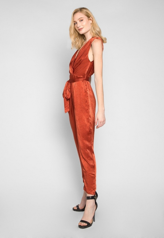 Young & Beautiful Wrap Belted Jumpsuit in Rust alternate img #3