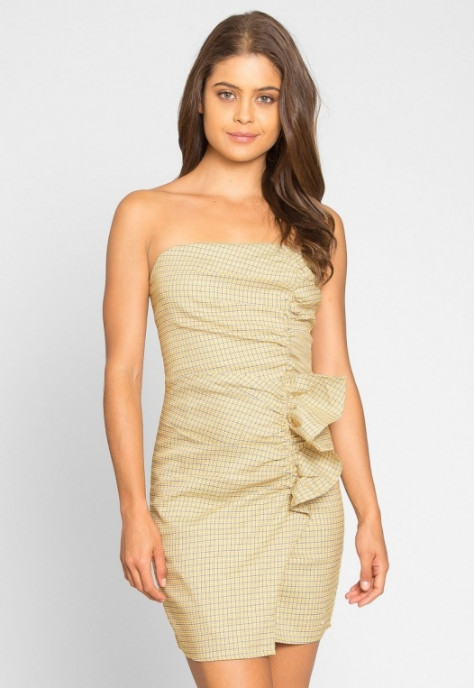 Natural Gingham Ruched Dress in Yellow alternate img #3