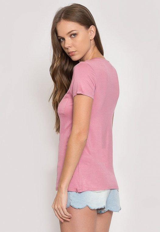 Oregon Oversized V-Neck Pocket Tee in Pink alternate img #2