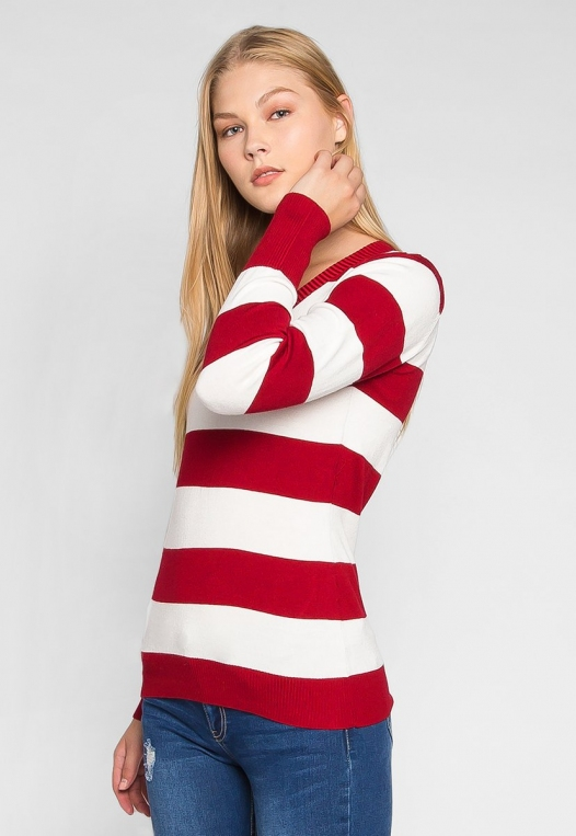 Be My Soulmate V-Neck Stripe Fitted Cardigan in Red alternate img #3