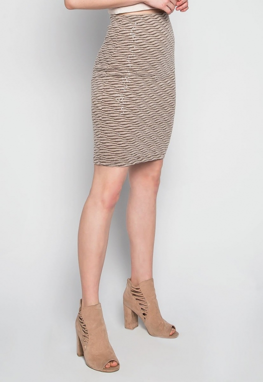 Ocean Waves Sequin Fitted Skirt in Brown alternate img #3