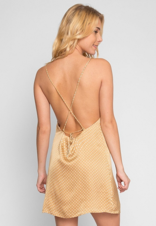 Nature Polka Dot Slip Dress in Gold alternate img #3