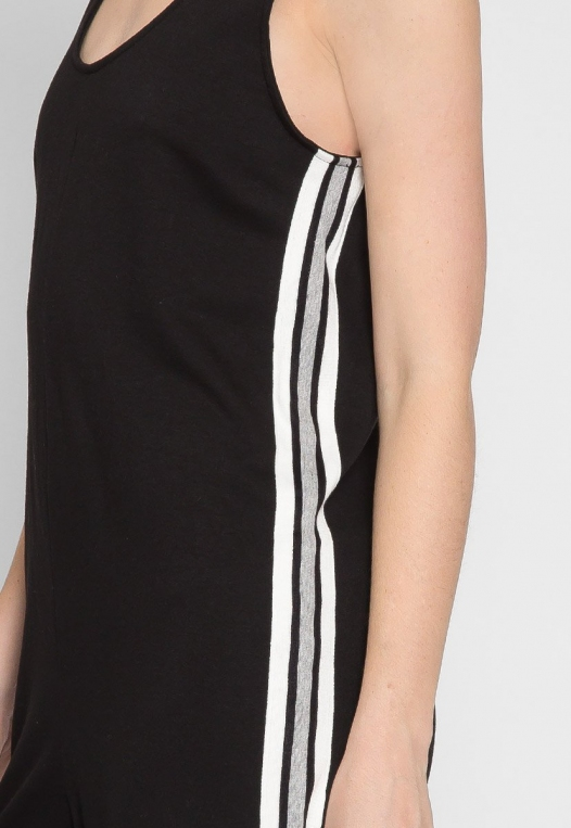 Sporty Side Stripe Jumpsuit in Black alternate img #6