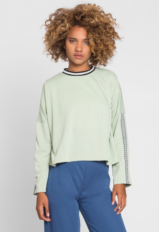 For You Checkboard Trim Knit Top in Mint alternate img #3