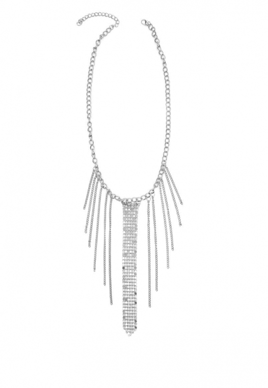 Chainmail Fringe Choker in Silver alternate img #1