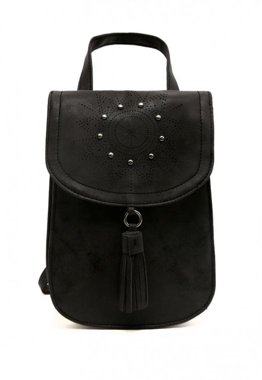 Peace Studded Mini Backpack in Black alternate img #1
