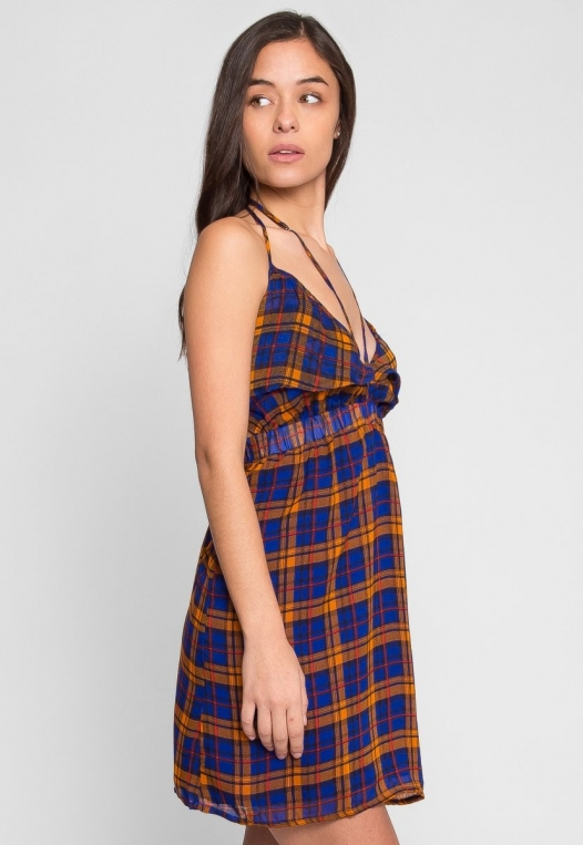 Pine Lane Plaid Fit and Flare Dress in Blue alternate img #3