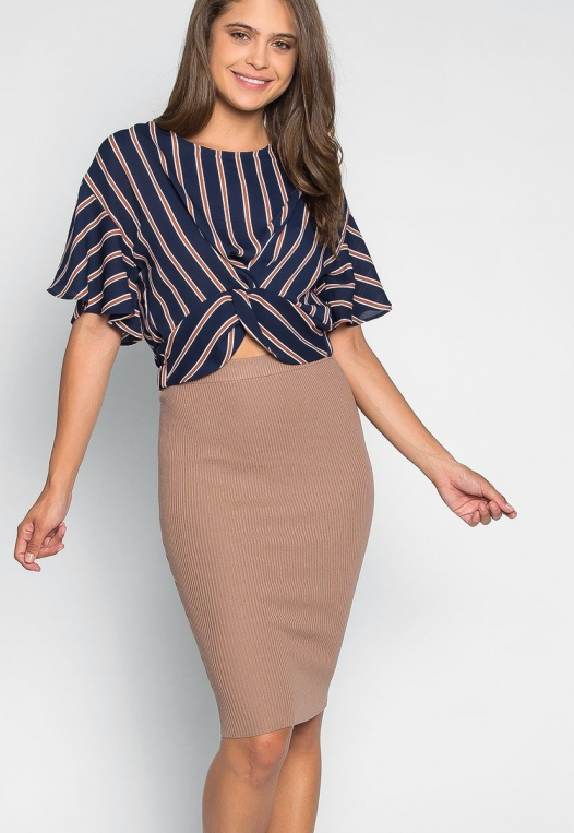Teach Me Twisted Stripe Blouse in Navy alternate img #5