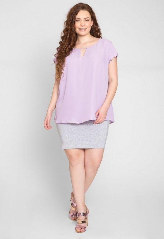 Plus Size Clouds Scallop Edge Top in Lavender alternate img #4