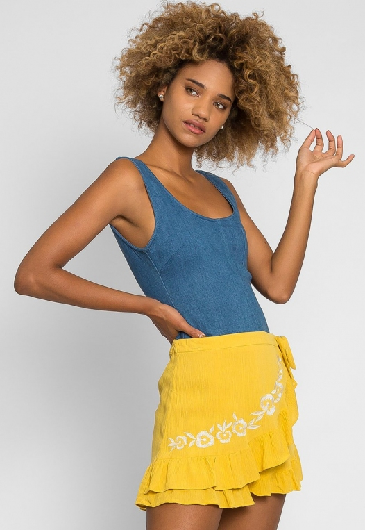 Floral Embroidered Shorts in Yellow alternate img #1
