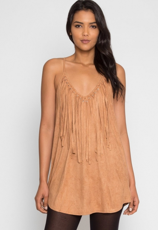 Symphony Faux Suede Dress in Taupe alternate img #1
