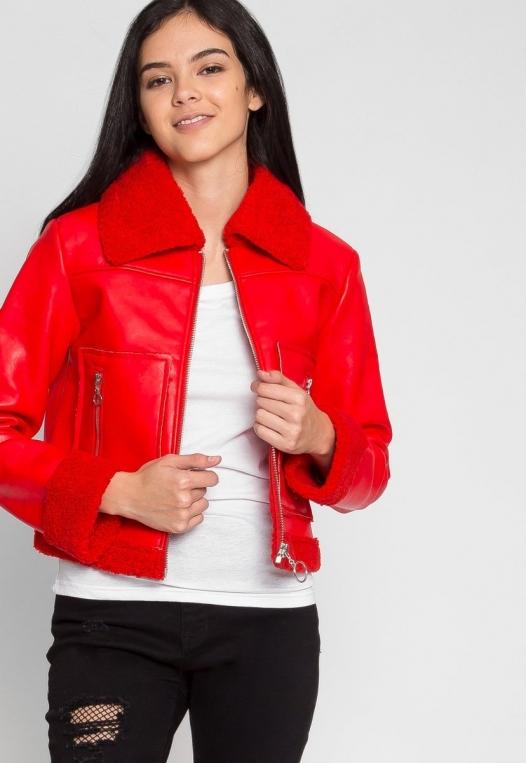 All Stars Luxe Bomber Jacket in Red alternate img #5
