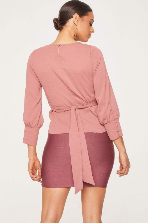 Cross Front Tied Back Long Sleeve Blouse alternate img #5