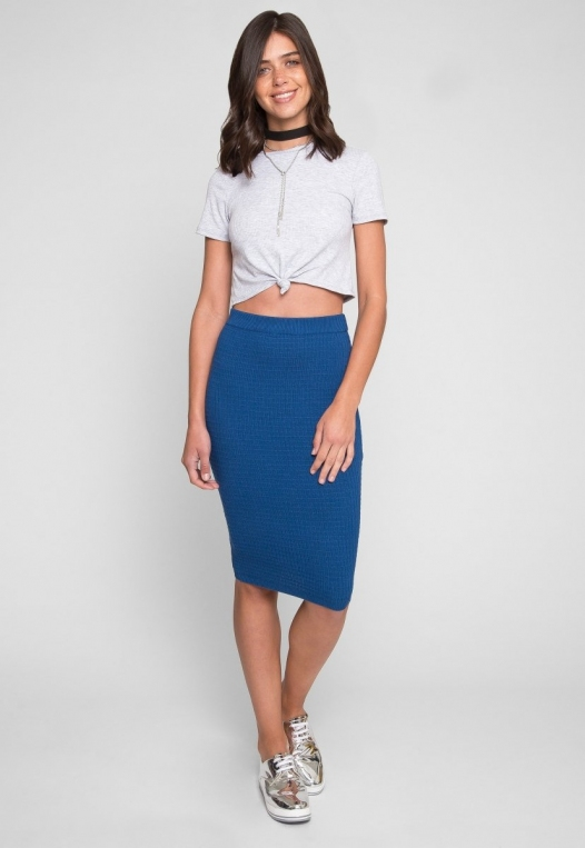 Shapeshifter Tie Twist Crop T-Shirt in Gray alternate img #4