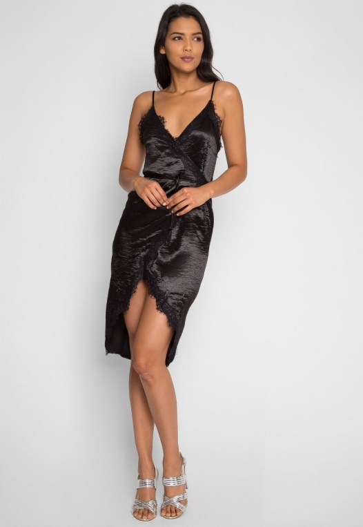 Mercury Satin Wrap Dress in Black alternate img #4