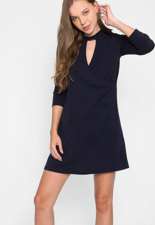 House Warming Surplice Dress in Navy alternate img #5