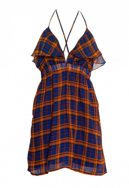 Pine Lane Plaid Fit and Flare Dress in Blue alternate img #7